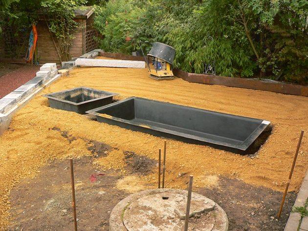 Umbau eines Gartens mit Brunnen